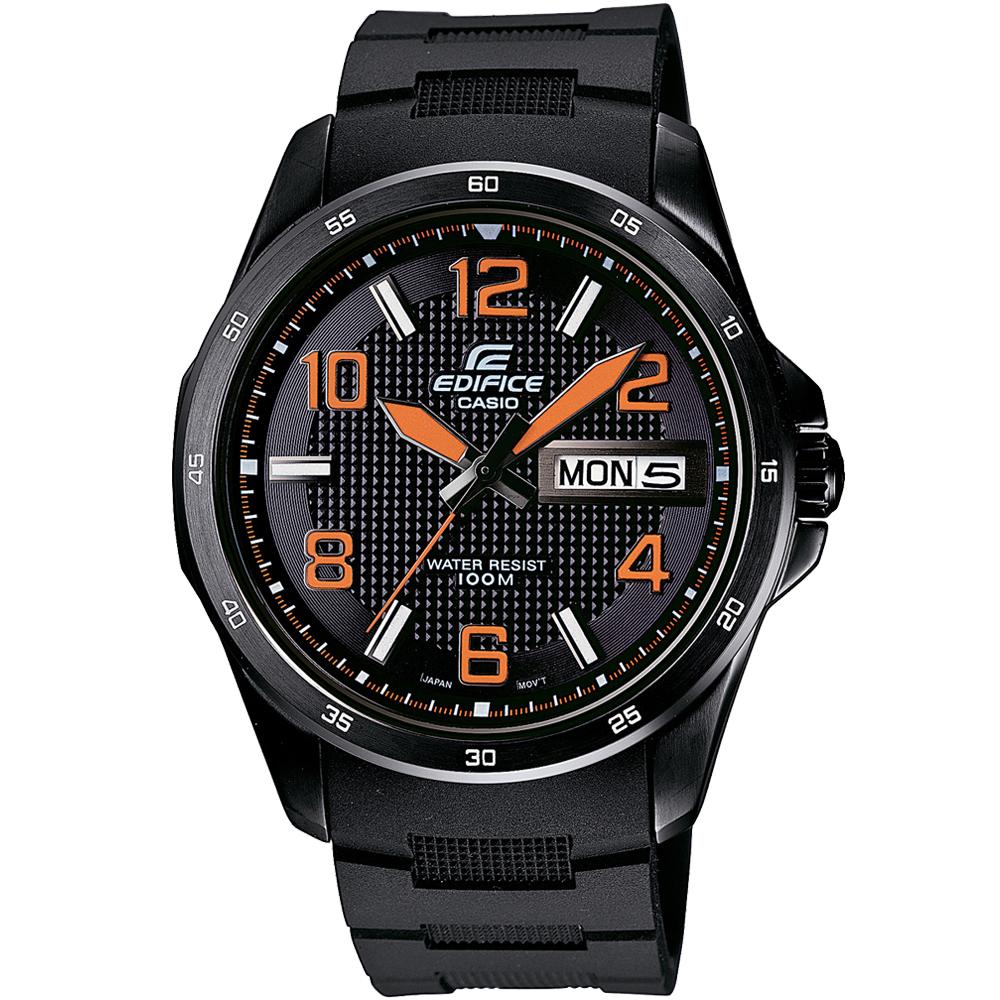 EDIFICE 簡約時尚指針賽車錶(EF-132PB-1A4)-黑x橘時標/44.2mm