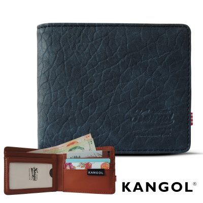 KANGOL 韓式潮流 多夾層橫式短皮夾+鑰匙圈禮盒-皮紋靛