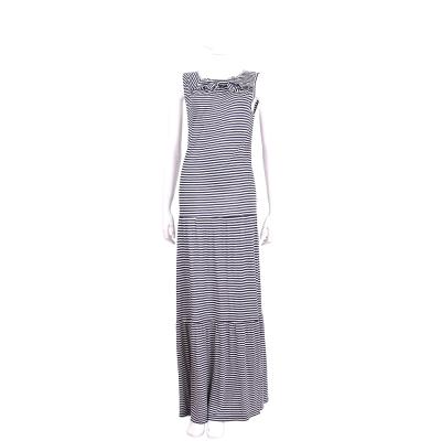 ANNA RACHELE 藍白條紋蝴蝶結飾棉料無袖長洋裝