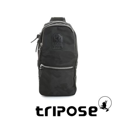 tripose 迷彩系列輕休閒多格層拉鍊單肩包-黑