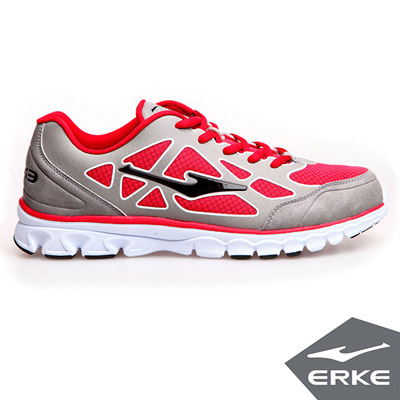 ERKE 鴻星爾克。男運動綜訓慢跑鞋-鋼灰/大紅