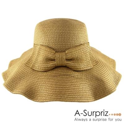 A-Surpriz 俏麗佳人蝴蝶結遮陽帽(淺咖)