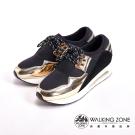 WALKING ZONE 金屬光澤耐磨綁帶戶外運動鞋 女鞋-金(另有銀)