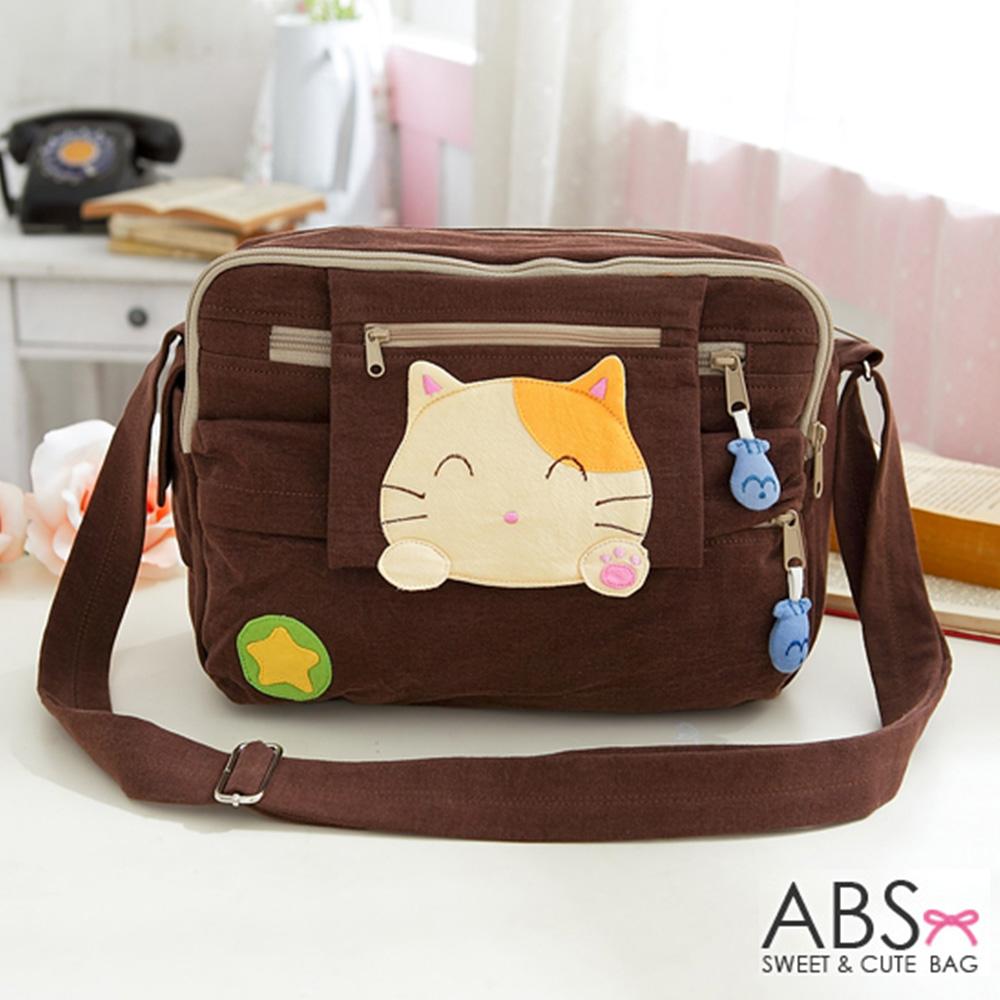 ABS貝斯貓 可愛貓咪拼布 肩背包 斜背包 (咖) 88-192 @ Y!購物