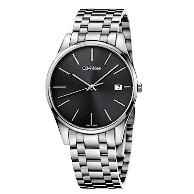 CK CALVIN KLEIN Time 時光系列時尚黑色面盤手錶-40mm
