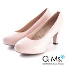 G.Ms.推薦通勤鞋‧靜音鞋跟真皮厚底粗跟包鞋‧淺粉