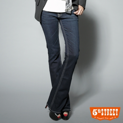 5th STREET 午後微醺-取線雙線靴型牛仔褲-女-酵洗藍