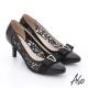 A.S.O 法式浪漫 牛皮拼接蕾絲布蝴蝶結鑽飾高跟鞋 黑 product thumbnail 1