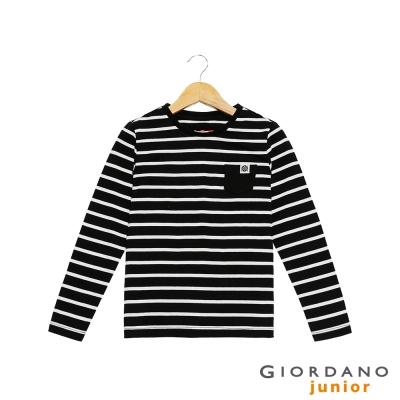 GIORDANO 童裝撞色條紋單口袋棉質長袖T恤- 29 標誌黑/皎雪白色