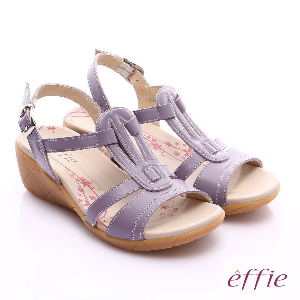 effie 輕量樂活 寬楦真皮工字楔型涼拖鞋 淺紫