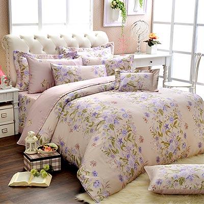 Saint Rose 恬靜花開 雙人100%純天絲兩用被套床罩八件組