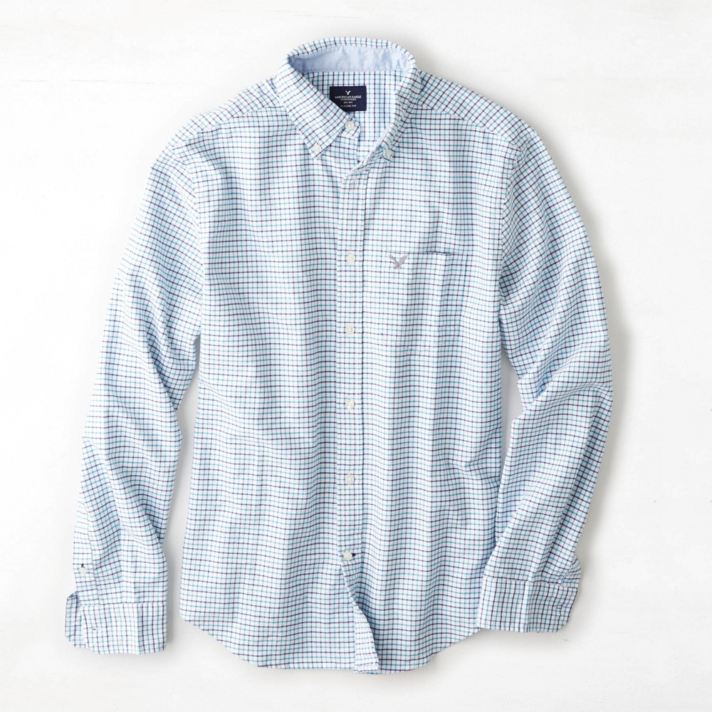 AE 男裝 細格紋長袖襯衫