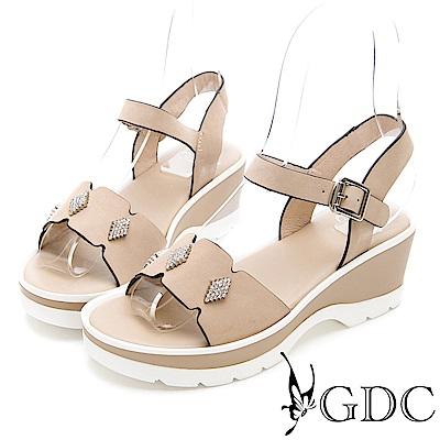 GDC-牛皮菱格水鑽扣飾春夏涼鞋-米色