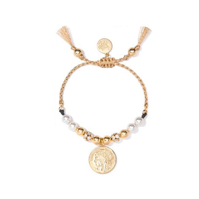 Venessa Arizaga Moonrise 古典錢幣珍珠手鍊 金色沙灘手鍊