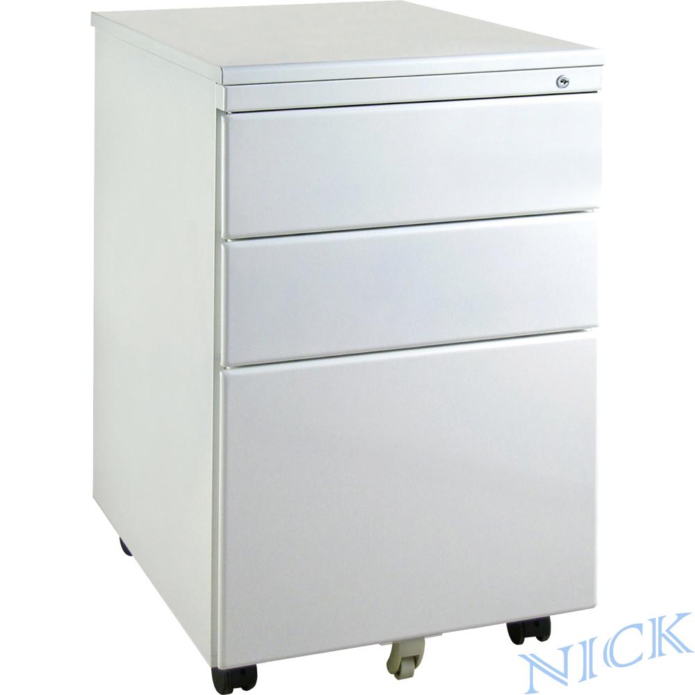 NICK 雪白色粉體烤漆平面鋼製三抽活動櫃