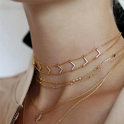 微醺禮物 頸鍊 正韓 鍍16K金 精鑲鋯石 往右看 個性潮流 金屬頸鍊 項鍊 鎖骨鍊
