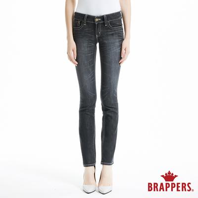 BRAPPERS 女款 新美腳Royal系列-彈性牛角繡花窄管褲-黑灰
