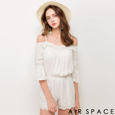 AIR-SPACE-花瓣造型細肩縮腰連身短褲-白