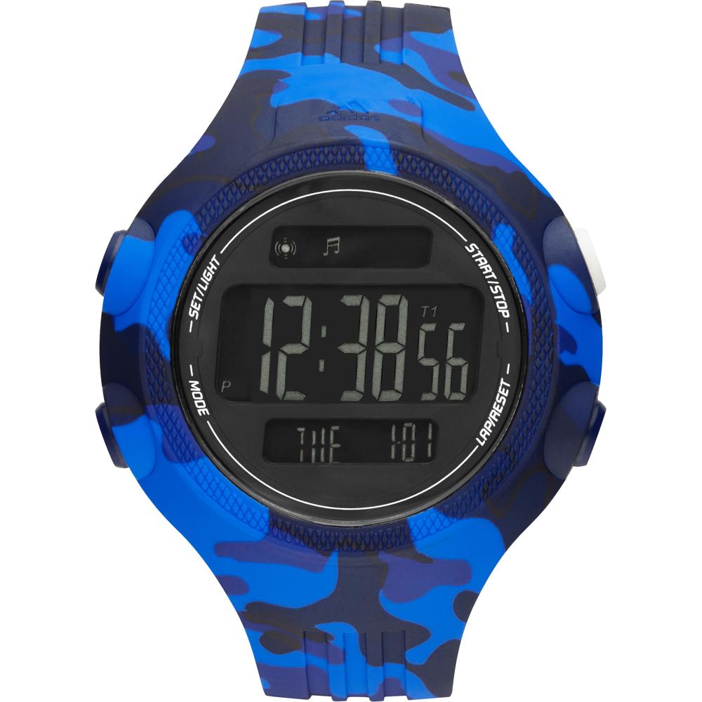 adidas adipower叢林迷彩冷光電子腕錶-藍53mm
