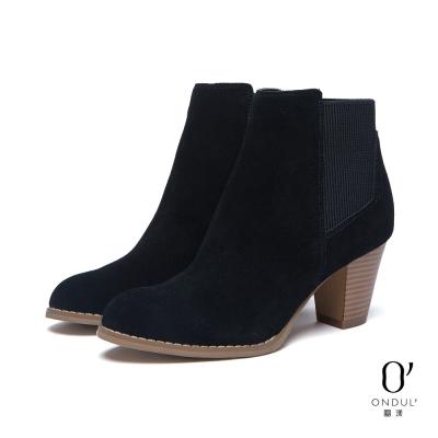 達芙妮x高圓圓-圓漾系列-短靴-真皮拼接粗跟踝靴-黑8H