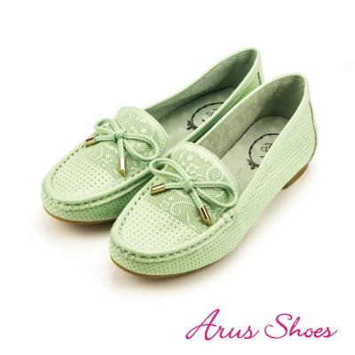 GDC-質感印花金屬蝴蝶結真皮娃娃鞋-綠色