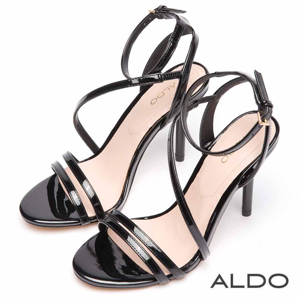 ALDO 原色不對稱窄版繫帶繞踝細高跟涼鞋~尊爵黑色