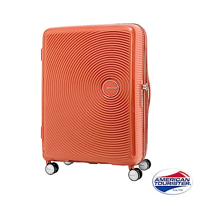 AT美國旅行者 25吋Curio立體唱盤刻紋硬殼可擴充TSA行李箱(蜜桃橘)