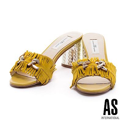 拖鞋 AS 復古時尚流蘇飾釦設計羊麂皮金屬高跟拖鞋-黃