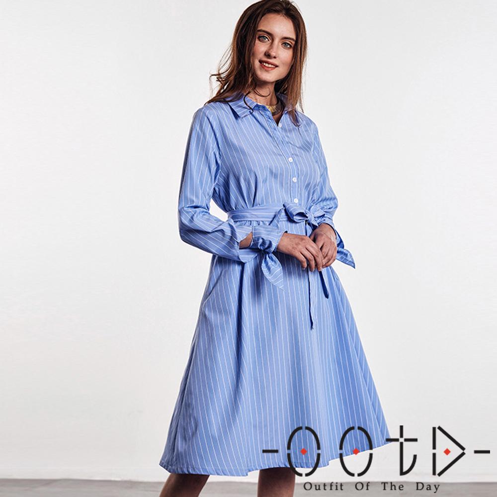 條紋綁帶長袖襯衫洋裝(藍色)-OOTD