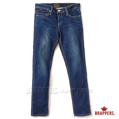 BRAPPERS 女款 新美腳ROYAL系列 女用彈性鑲鑽七分反摺褲-深藍