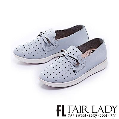 Fair Lady Soft Power軟實力蝴蝶結網孔舒適便鞋 藍