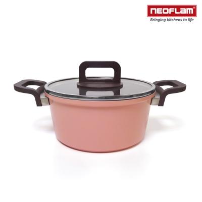 韓國NEOFLAM PHILOS系列 20cm陶瓷不沾湯鍋+玻璃鍋蓋