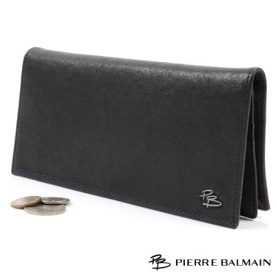 PB皮爾帕門-頭層牛皮真皮-長夾-14卡1照2夾1隱藏式零錢袋-黑