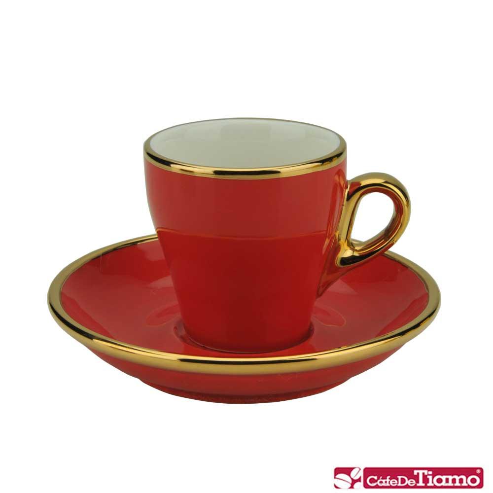 Tiamo 17號鬱金香濃縮杯盤組1客 90cc(K金)-紅色(HG0846R)