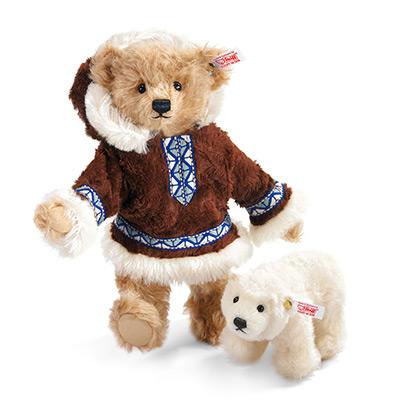 【STEIFF限量版泰迪熊】 愛斯基摩人與北極熊寶寶