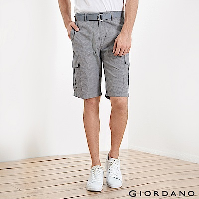 GIORDANO 男裝附腰帶COOLMAX素色口袋卡其短褲-01 黑白千鳥格