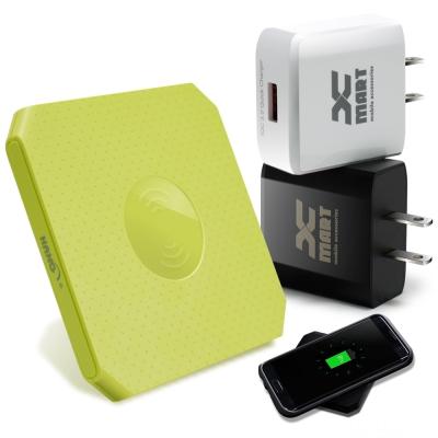 HANG 方塊餅乾支援 QC3.0/QC2.0 快速無線充電座+快速旅充-綠