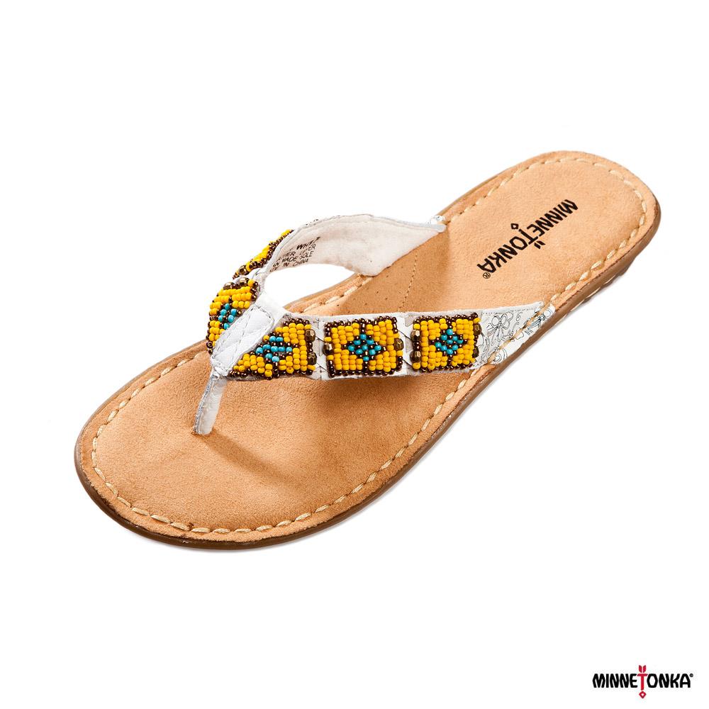 MINNETONKA - 民族風配色串珠夾腳拖鞋 - 白色