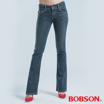 BOBSON 亮鑽釦伸縮小喇叭褲-藍色