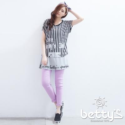 betty's貝蒂思 彈性拼接素面內搭褲(紫色)