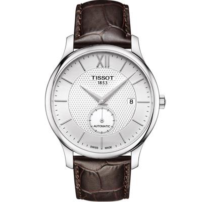 TISSOT 天梭Tradition  古典小秒針機械錶-銀/40mm