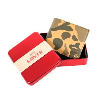 棕色迷彩皮夾 精美鐵盒 - Levis
