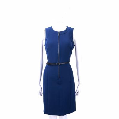 Michael Kors 寶藍色拉鍊設計無袖洋裝(附腰帶)