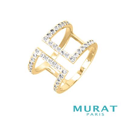 MURAT PARIS米哈巴黎 極簡排鑽雙層寬版戒指(金色款)
