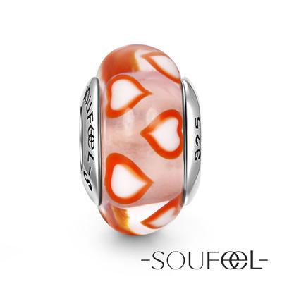 SOUFEEL索菲爾 925純銀珠飾 白色桃心 琉璃珠