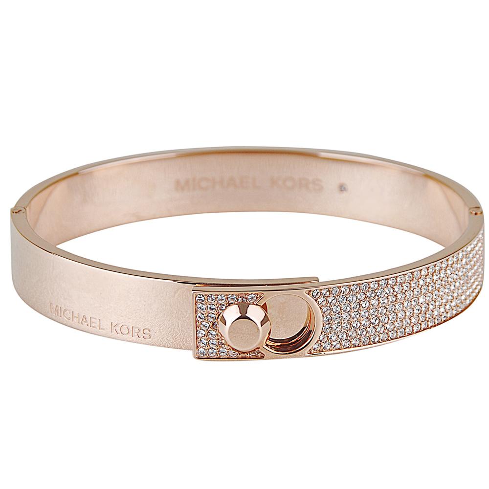 Michael Kors 氣質奢華碎鑽名媛扣式手環(玫瑰金)
