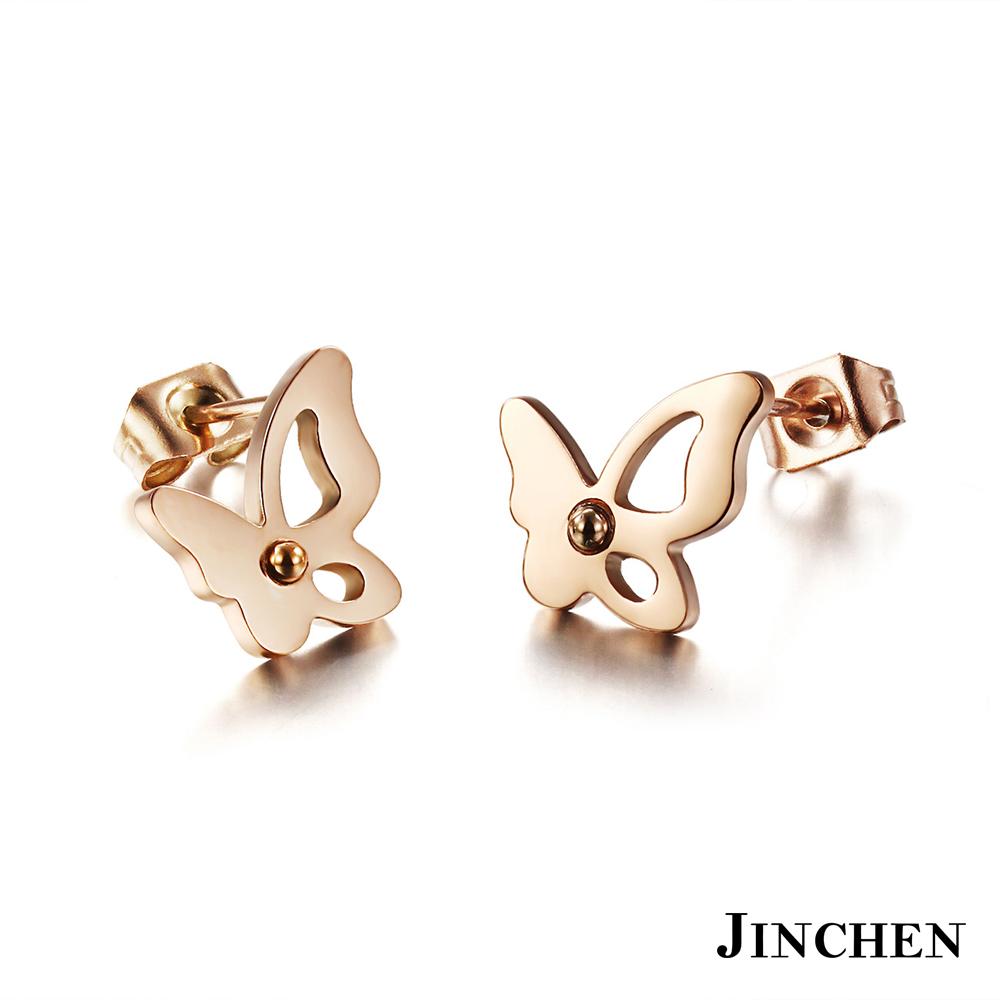 JINCHEN 白鋼蝴蝶耳環 玫瑰金