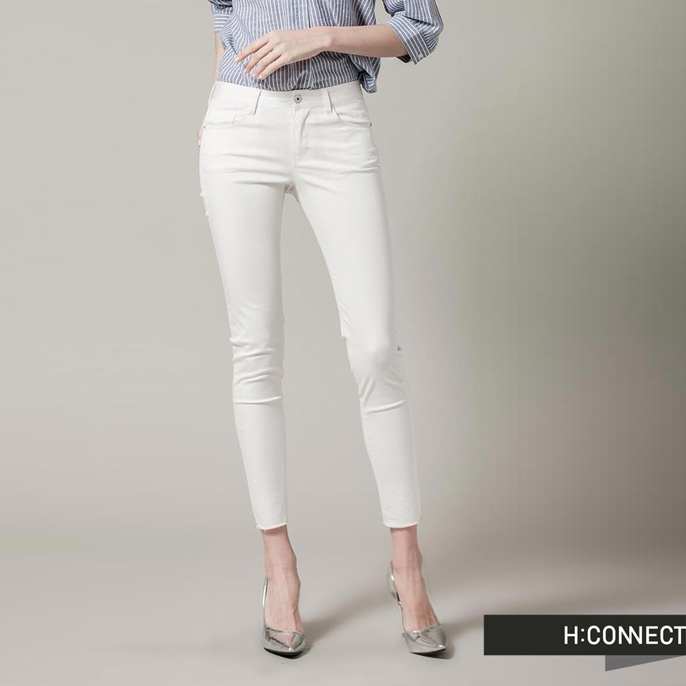 H:CONNECT 韓國品牌女裝-經典純色素面修身長褲-白(快)