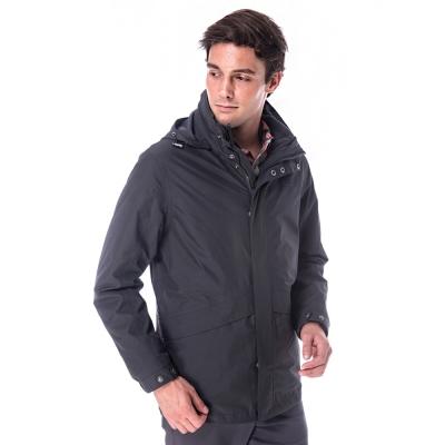 【hilltop山頂鳥】男款GoreTex兩件式防水刷毛短大衣H22MV1灰