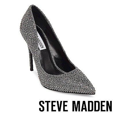STEVE MADDEN-DAISIE-R-優雅水鑽尖頭中跟鞋-銀色